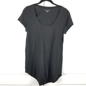 Eileen Fisher Black Rounded Hem Cotton T-Shirt XS